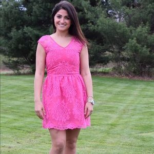 Pink embroidered dress!